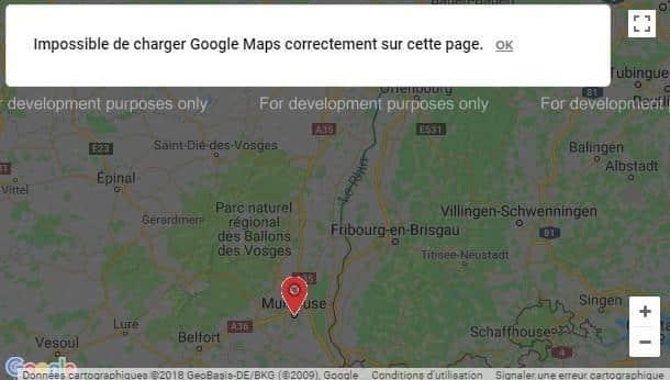 Impossible de charger Google Maps correctement sur cette page